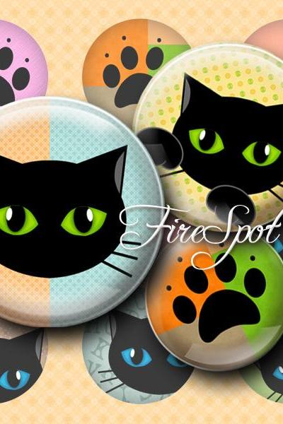 Black Cat,-Digital Collage Sheet 1.5 inch,1.25 inch,30 mm,1 inch,25 mm Round,animal, Cat-pad, Glass Pendants, Bottlecaps,Scrapbooking