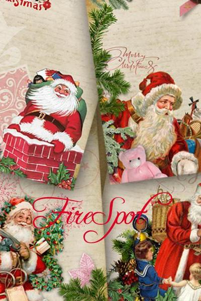 Christmas.Santa Claus-Digital Collage Sheet 3.5x4.9 inches set of 4,Printable Gift tags ,Greeting Cards.Scrapbooking Instant Download