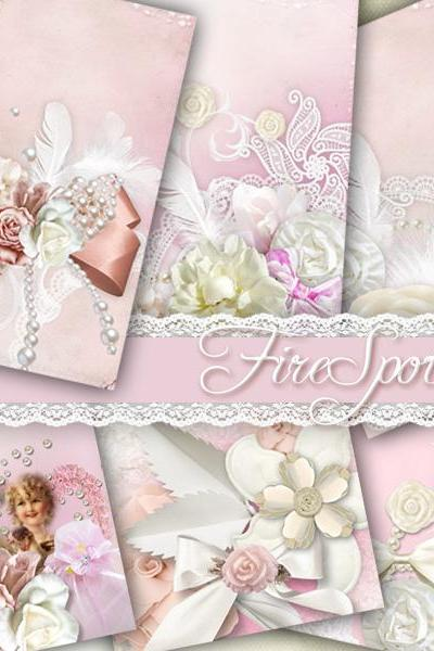Wedding CARDS.Pink.Bow-Digital Collage Sheet 2.5x3.5 inches set of 8,Printable Gift tags,tant Download.Print the stickers.Greeting Cards