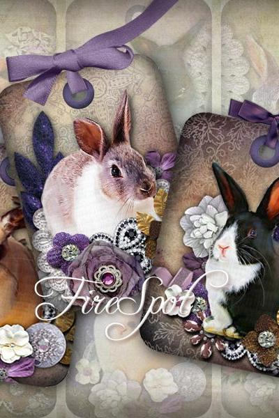 Vintage Purple Rabbit.Bunny.Flower-Digital Collage Sheet 2.5x3.5 inches set of 8,Printable,tant Download.Print the stickers.Bookmarks