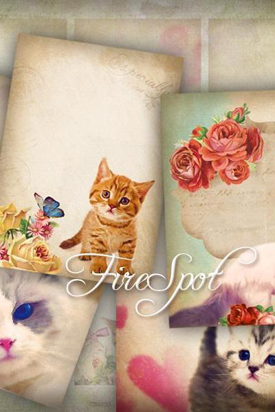 Vintage Flowers Cat.Animal-Digital Collage Sheet 2.5x3.5 inches set of 8,Printable Gift tags,Downloadable images Print the stickers