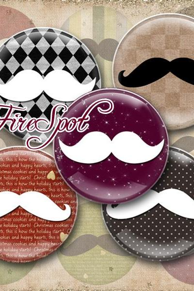 Mustache,Beard,Moustache-Digital Collage Sheet 20mm, 18mm, 16mm, 14mm, 12mm circle printable images.Pendant.Bottlecaps,Scrapbooking