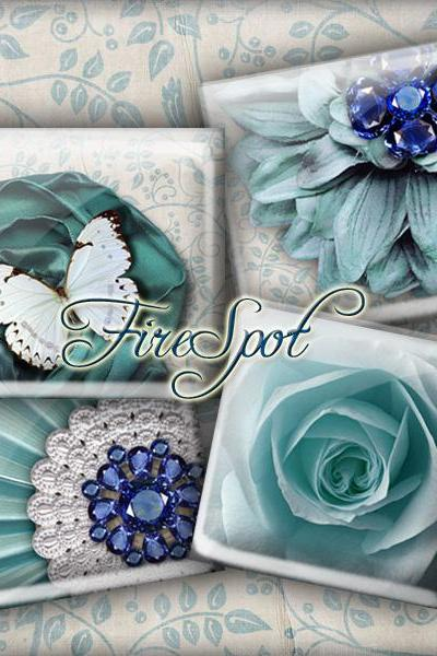 Blue-Green Flower Butterfly Bird gem -Digital Collage Sheet 1.5inch,1 inch,25 mm,20 mm Square Glass Pendants, Bottlecaps,Scrapbooking