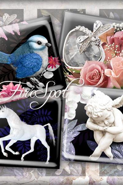 Unicorn flower bird Cupid butterfly animal - Digital Collage Sheet 1.5inch,1 inch,25 mm,20 mm Square Glass Pendants, Bottlecaps,Scrapbooking