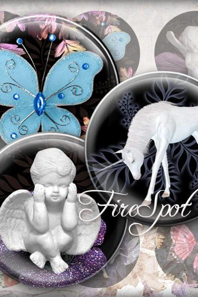 Unicorn flower bird Cupid butterfly animal -Digital Collage Sheet 1.5 inch,1.25 inch,30 mm,1 inch,25 mm circle.Glass Pendant,Scrapbooking