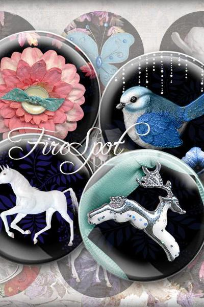 Unicorn flower bird Cupid butterfly animal -Digital Collage Sheet 20mm, 18mm, 16mm, 14mm, 12mm circle.Glass Pendant,Scrapbooking