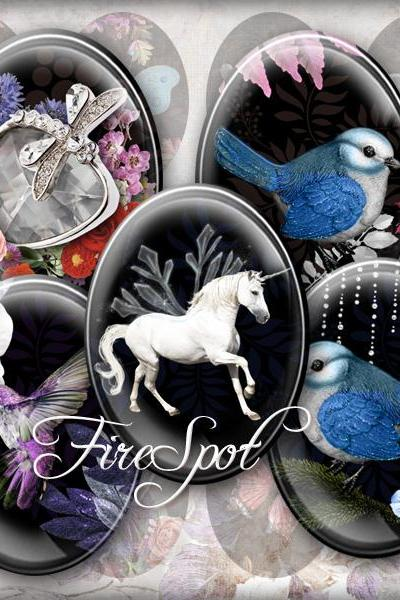 Unicorn flower bird Cupid butterfly animal -Digital Collage Sheet 30x40 mm,22x30 mm,18x25 mm,13x18 mm Oval Scrapbooking Printable Pendants