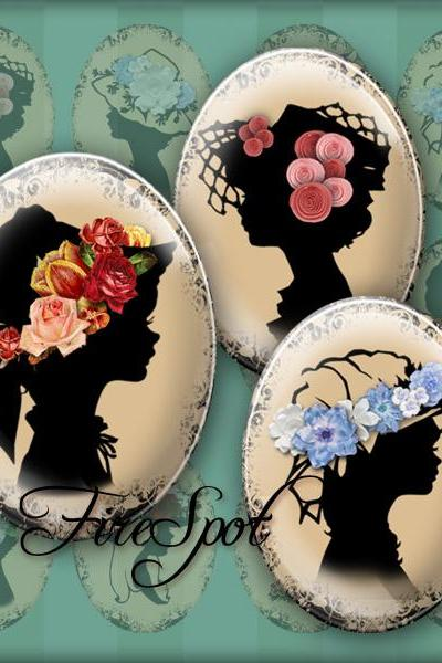 Girl in the flower hat,Vintage silhouette Girl - Digital Collage Sheet 30x40 mm,22x30 mm,18x25 mm,13x18 mm Oval Scrapbooking Pendants