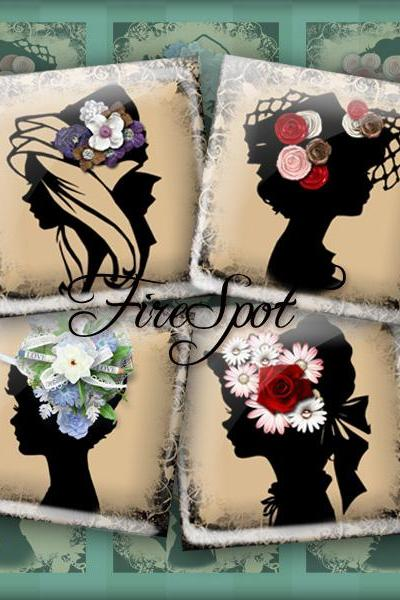 The girl in the hat,flower,silhouette girl - Digital Collage Sheet 1.5inch,1 inch,25 mm,20 mm Square Glass Pendants, Bottlecaps,Scrapbooking