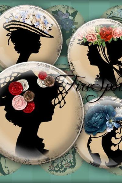 Girl in the flower hat,silhouette Girl - Digital Collage Sheet 1.5 inch,1.25 inch,30 mm,1 inch,25 mm circle.Glass Pendant,Scrapbooking