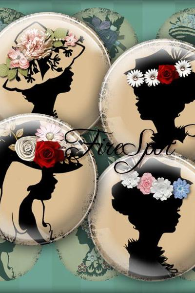 Girl in the flower hat,Vintage silhouette Girl - Digital Collage Sheet 20mm, 18mm, 16mm, 14mm, 12mm circle.Glass Pendant,Scrapbooking