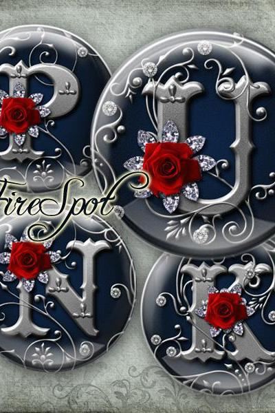 Rose alphabet,silver letter - Digital Collage Sheet 1.5 inch,1.25 inch,30mm,1 inch,25mm circle Glass Pendants,Bottlecaps,Scrapbooking