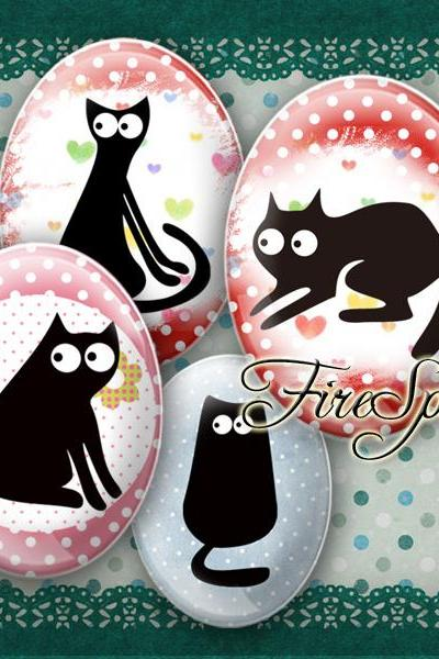 Cartoon Black Cat - Digital Collage Sheet 30x40 mm,18x25 mm,13x18 mm Oval Scrapbooking Printable Glass Pendants Animal,printable images