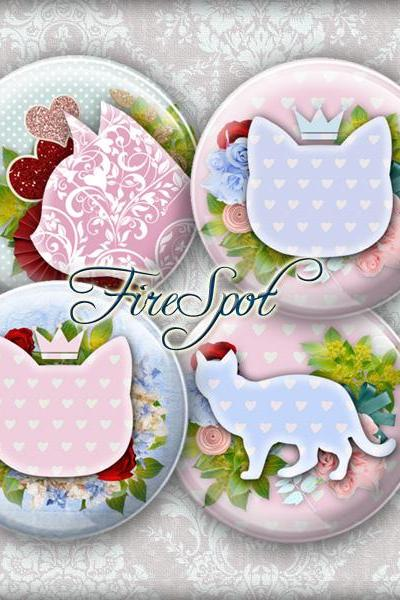 Fresh Cat flower blue pink -Digital Collage Sheet 1.5 inch,1.25 inch,30 mm,1 inch,25 mm Round,animal, Cat-pad, Glass Pendants,Scrapbooking