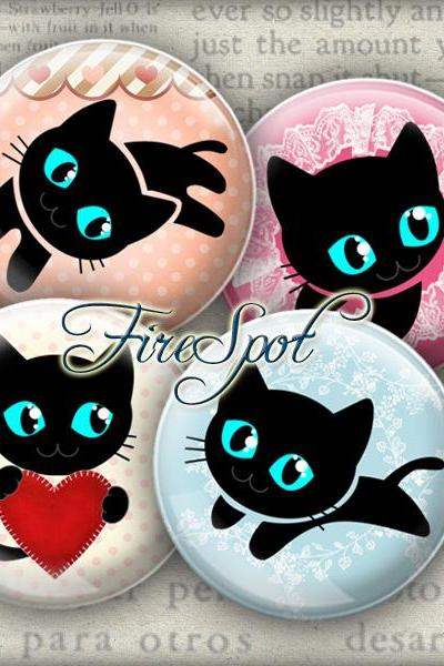Black Cat,CAT - Digital Collage Sheet 20mm, 18mm, 16mm, 14mm, 12mm circle, animal, Cat-pad, Glass Pendant, Bottlecaps,Scrapbooking