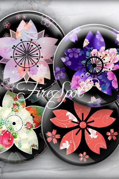 Japanese sakura Colourful flower - Digital Collage Sheet 1.5 inch,1.25 inch,30mm,1 inch,25mm circle Glass Pendant, Bottlecaps,Scrapbooking