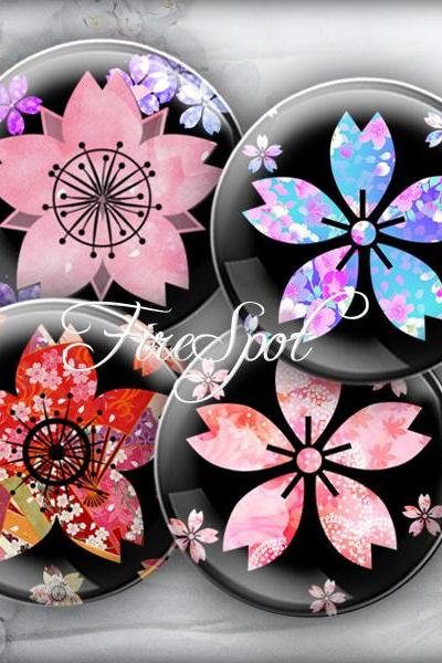 Japanese sakura Colourful flower - Digital Collage Sheet 20mm, 18mm, 16mm, 14mm, 12mm circle Glass Pendant, Bottlecaps,Scrapbooking
