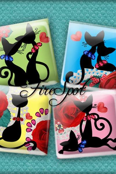 Cartoon Black Cat - Digital Collage Sheet 1.5 inch 1 inch,25 mm, 20 mm Square,Animal,printable images for glass Pendants,Scrapbooking