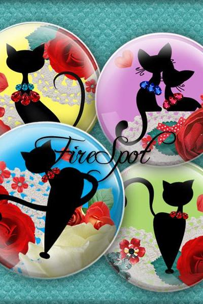 Colourful Cartoon Black Cat - Digital Collage Sheet, 20mm, 18mm, 16mm, 14mm, 12mm Charms.Animal,Jewelry.Scrapbooking.Glass Pendants