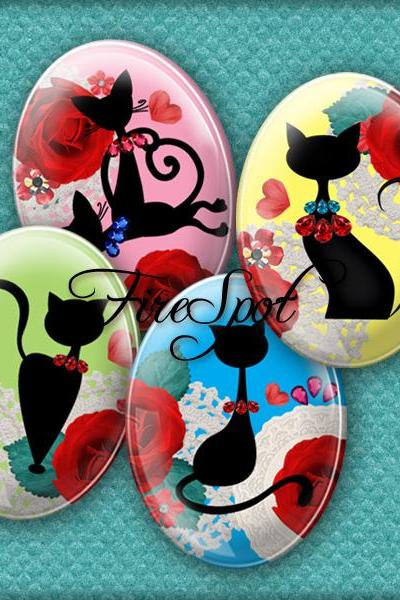 Colourful Cartoon Black Cat - Digital Collage Sheet, 30x40 mm,22x30 mm,18x25 mm,13x18 mm Oval .Animal,Jewelry.Scrapbooking Pendants.Charms
