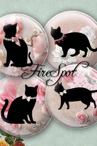 Flower Black Cat.Black Cat -Digital Collage Sheet 20mm, 18mm, 16mm, 14mm, 12mm Circles Glass Pendants, Bottlecaps,Scrapbooking