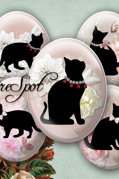 Cartoon Black Cat - Digital Collage Sheet, 30x40 mm,22x30 mm,18x25 mm,13x18 mm Oval .Animal,Jewelry.Scrapbooking.Glass Pendants.Charms