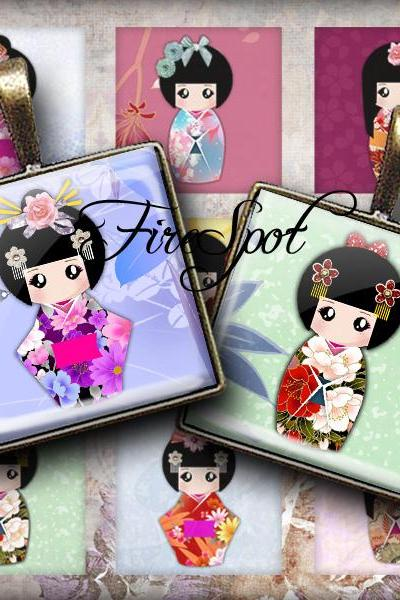 Japanese Dolls - Digital Collage Sheet 1.5 inch1 inch,25mm, 20mm Square printable images for Glass Pendant, Washi Kokeshi,Scrapbooking
