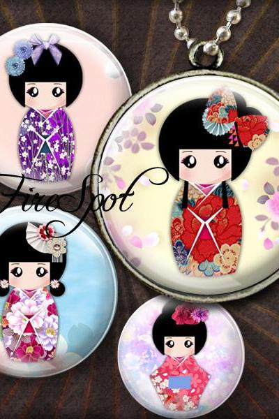 Washi Kokeshi - Digital Collage Sheet 1.5 inch 1.25 inch,30 mm,1 inch,25 mm, circles glass Pendants,Japanese Dolls,Scrapbooking