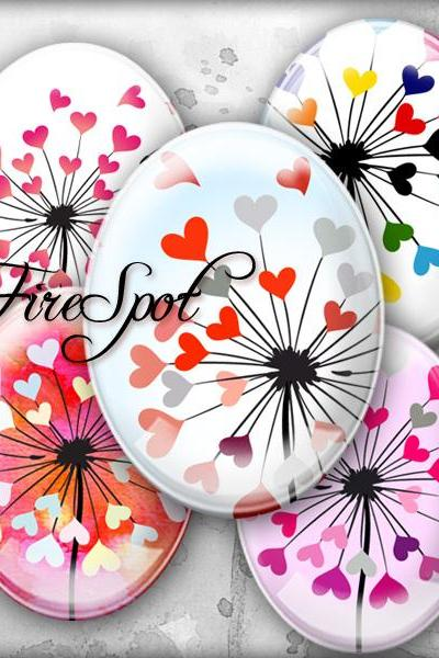 Colourful Heart Dandelion - Digital Collage Sheet 30x40 mm,22x30 mm,18x25 mm,13x18 mm Oval Scrapbooking Printable Glass Pendants