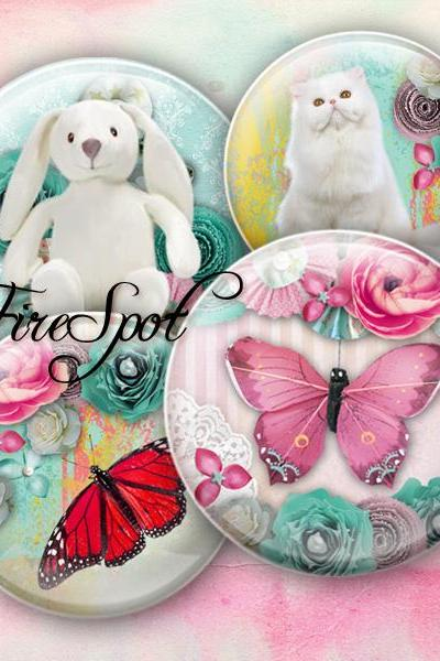 Pigeon Butterfly Bird Cat animals - Digital Collage Sheet 1.5 inch,1.25 inch,30mm,1 inch,25mm circle.Glass Pendant.Bottlecaps Scrapbooking