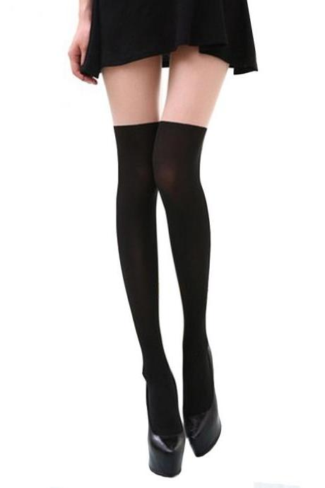 Black Tinted Sheer False Hold Up Thigh Hi Stocking Pantyhose False thigh Tights Hosiery Bow Leggings Tattoo Stockings Sexy Pantyhose (WZ14)