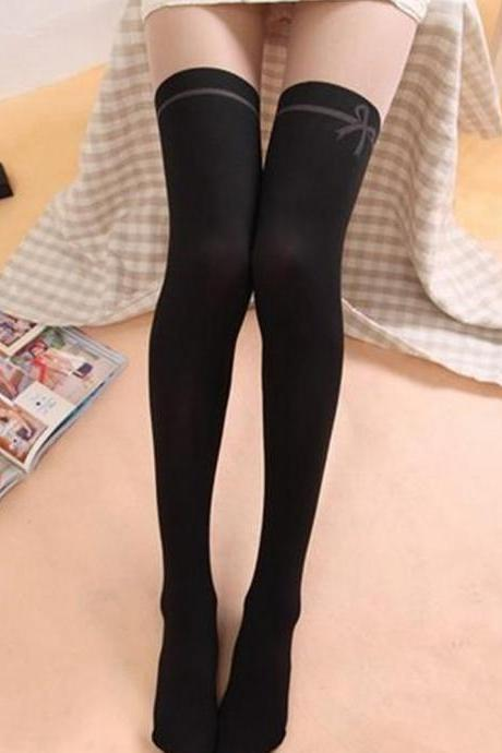 Black Tinted Sheer False Hold Up Thigh Hi Side bow Stocking Pantyhose False thigh Tights Hosiery Bow Leggings Tattoo Stockings Sexy Pantyhose (WZ15)