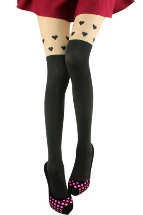 Heart pattern Black Tinted Sheer False Hold Up Thigh Hi Stocking Pantyhose False thigh Tights Hosiery Heart Leggings Tattoo Stockings Sexy Pantyhose (WZ17)