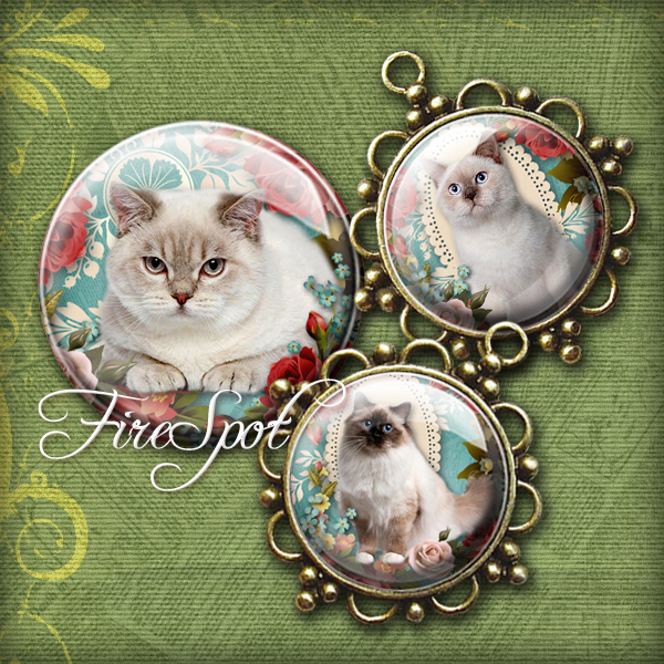 Vintage Flowers Pet Cat- Digital Collage Sheet 20 mm, 18 mm, 16 mm, 14 mm, 12 mm Round printable images for Glass Pendants Scrapbooking