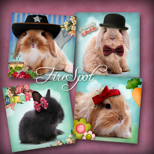 Bunny with the hat, Rabbit- Digital Collage Sheet 2.5 inch Square printable images.Downloadable images,coaster,animal,Scrapbooking,Coasters