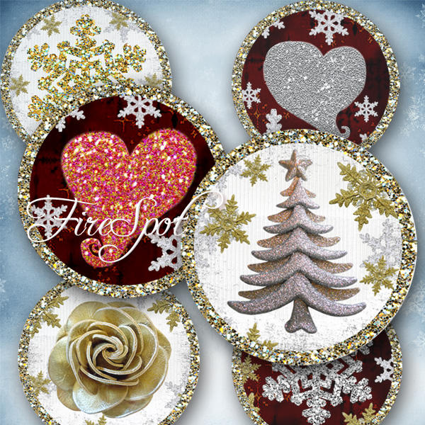 Christmas,Xmas,heart,-Digital Collage Sheet 1.5 inch,1.25 inch,30 mm,1 inch,25 mm Round printable images,Pendants,Bottlecaps,Scrapbooking