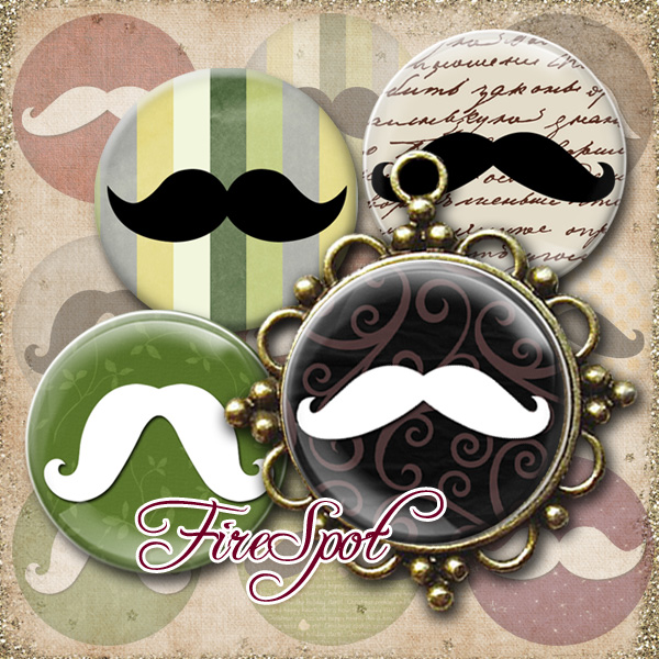 Mustache,Beard,Moustache-Digital Collage Sheet 1.5 inch,1.25 inch,30mm,1 inch,25mm circle printable images.Pendant.Bottlecaps,Scrapbooking