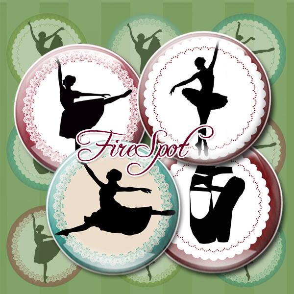 Ballet.Dance.Girl,-Digital Collage Sheet 20mm, 18mm, 16mm, 14mm, 12mm Circles, Glass Pendants, Bottlecaps,Scrapbooking