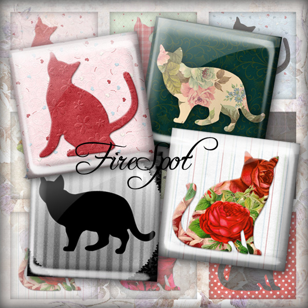 Vintage Flower Cat.Black Cat -Digital Collage Sheet 1.5inch,1 inch,25 mm,20 mm Square Glass Pendants, Bottlecaps,Scrapbooking