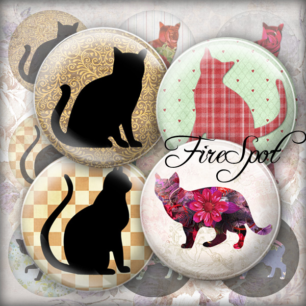 Vintage Flower Cat.Black Cat -Digital Collage Sheet 20mm, 18mm, 16mm, 14mm, 12mm Circles Glass Pendants, Bottlecaps,Scrapbooking