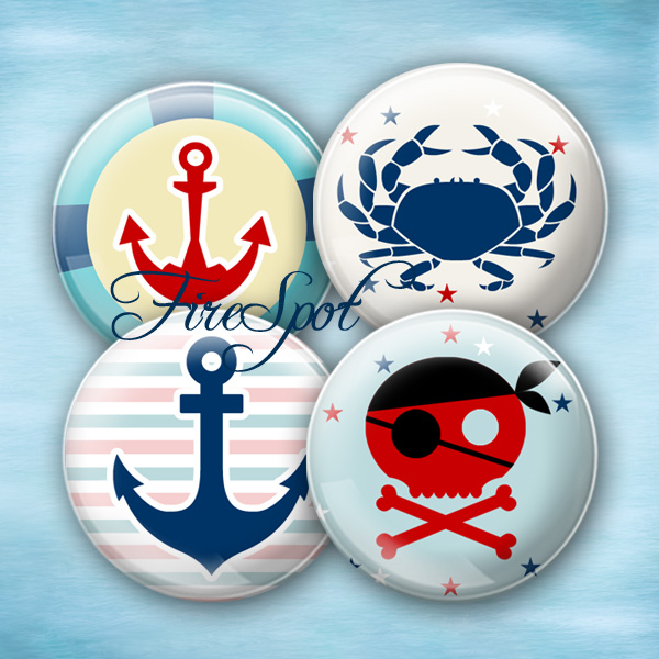 Pirate Anchor Crab navy octopus - Digital Collage Sheet 20mm, 18mm, 16mm, 14mm, 12mm circle,Glass Pendant, Bottlecaps,Scrapbooking