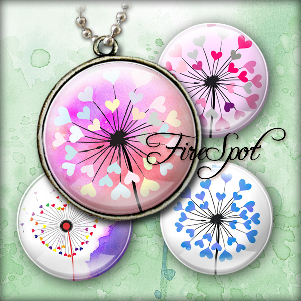 Colourful Heart Dandelion - Digital Collage Sheet 1.5 inch,1.25 inch,30mm,1 inch,25mm circle.Glass Pendant.Bottlecaps,Scrapbooking