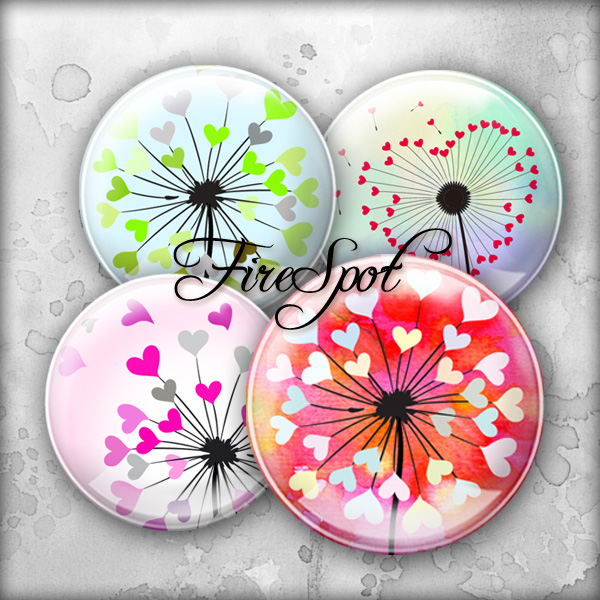 Colourful Heart Dandelion - Digital Collage Sheet 20mm,18mm,16mm,14mm,12mm circle printable images.Glass Pendant.Bottlecaps,Scrapbooking
