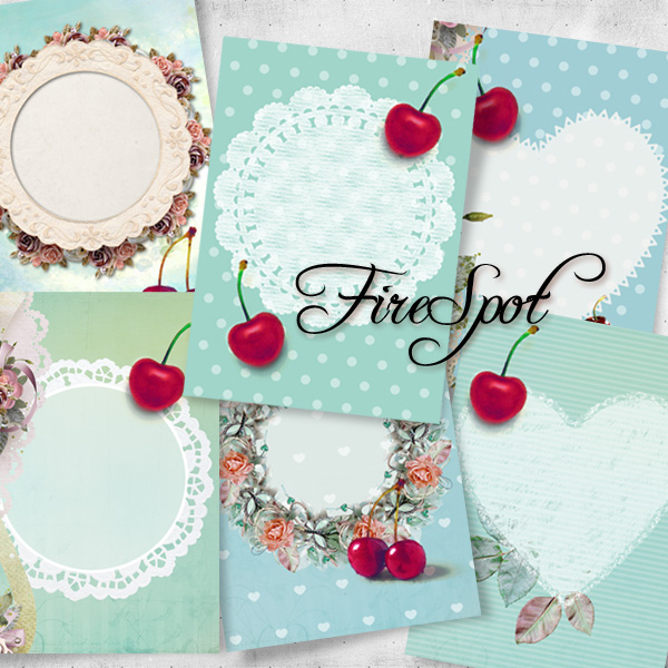 Cherry Cherrie Ho Fruit Flower - Digital Collage Sheet 2.5x3.5 inches set of 8,Printable Gift tags,Downloadable images Print the stickers