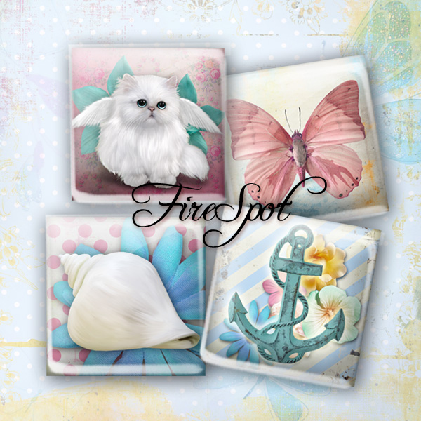 Summer style Colourful shell CAT animals - Digital Collage Sheet 1.5inch,1 inch,25 mm,20 mm Square Glass Pendants, Bottlecaps,Scrapbooking