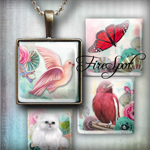 Pigeon Butterfly Bird Cat animals - Digital Collage Sheet 1.5inch,1 inch,25 mm,20 mm Square Glass Pendants, Bottlecaps,Scrapbooking