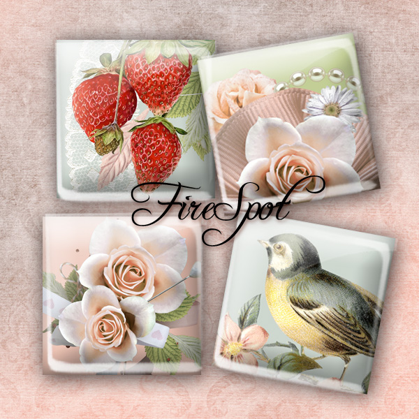 Pink Flowers Bird animals - Digital Collage Sheet 1.5inch,1 inch,25 mm,20 mm Square Glass Pendants, Bottlecaps,Scrapbooking