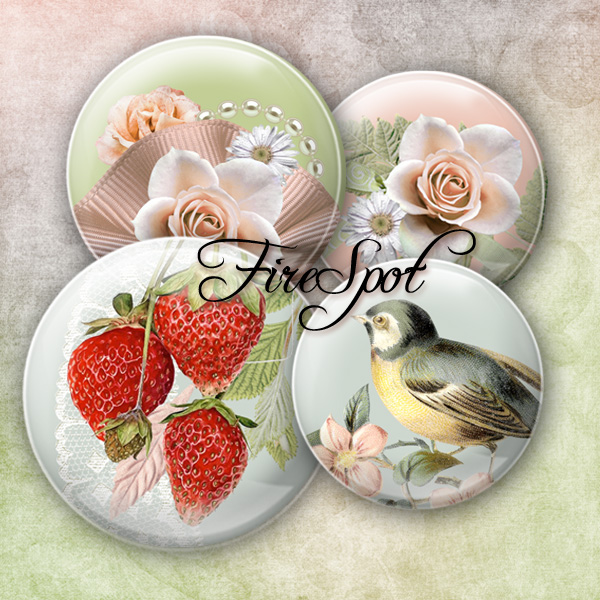 Pink Flowers Bird animals - Digital Collage Sheet 20mm, 18mm, 16mm, 14mm, 12mm circle.Glass Pendant.Bottlecaps Scrapbooking