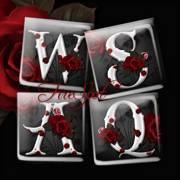 Gothic style Red Rose Letter alphabet - Digital Collage Sheet 1.5inch,1 inch,25 mm,20 mm Square Glass Pendants,Instant Download,Scrapbooking