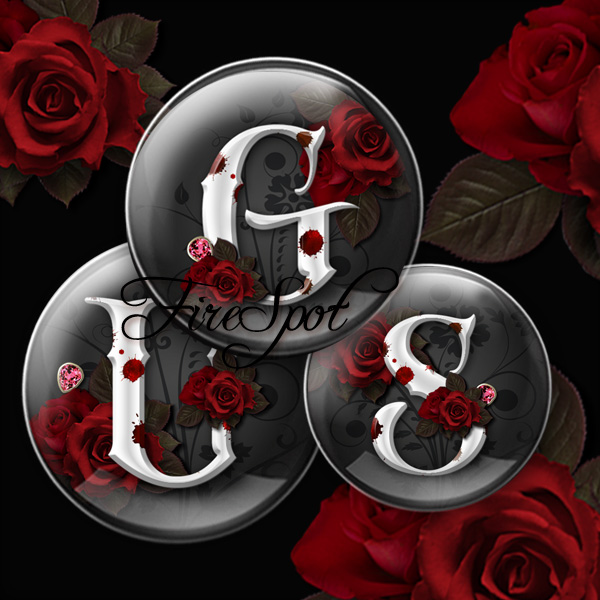 Gothic style Red Rose Letter alphabet - Digital Collage Sheet 1.5 inch,1.25 inch,30 mm,1 inch,25 mm circle Glass Pendants,Scrapbooking